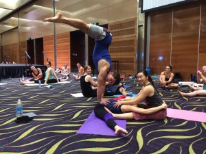Andrea James Lui & Anh Le Handstand Middle Splits stretch with Alex Shchukin in Flexibility at West Australian Pole Camp 2014