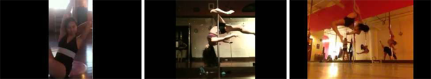 YouTube thumbnails of Andrea James Lui pole combos