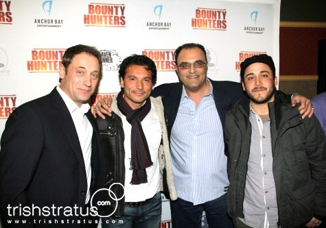 Frank J Zupancic (Ridley), Enrico DiFede (Mario), Joe Rafla (Hal), and Rodrigo Fernandez-Stoll (Peter) on the red carpet for Bounty Hunters