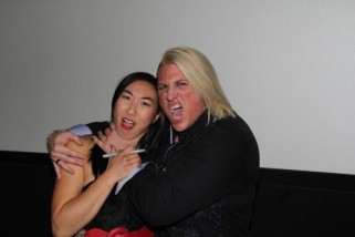 Andrea James Lui being strangled by wrester, Jaime Dauncey, at the Bounty Hunters premiere